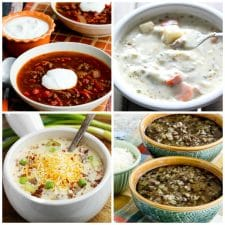 Four Savory Soups with Ground Beef collage photo