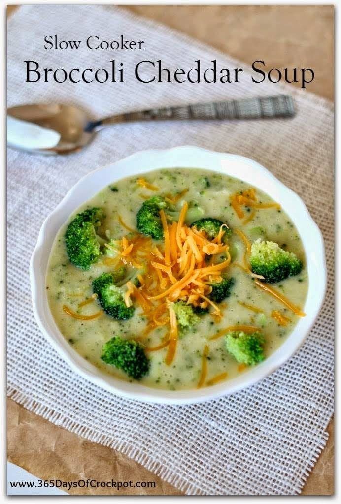 Slow Cooker Light and Gluten-Free Broccoli Cheddar Soup from 365 Days of Slow Cooking [featured on SlowCookerFromScratch.com]