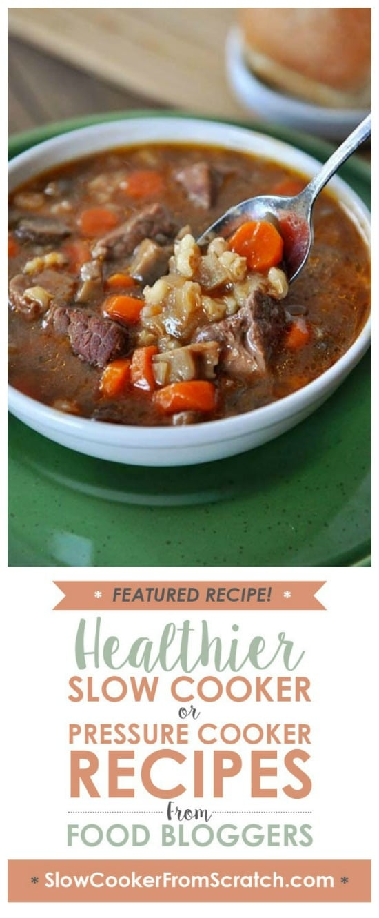 Slow Cooker Beef and Barley Soup from Mel's Kitchen Cafe featured on Slow Cooker or Pressure Cooker at SlowCookerFromScratch.com