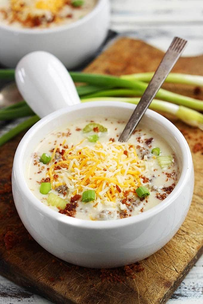 Slow Cooker Cheeseburger Soup from Creme de la Crumb found on SlowCookerFromScratch.com