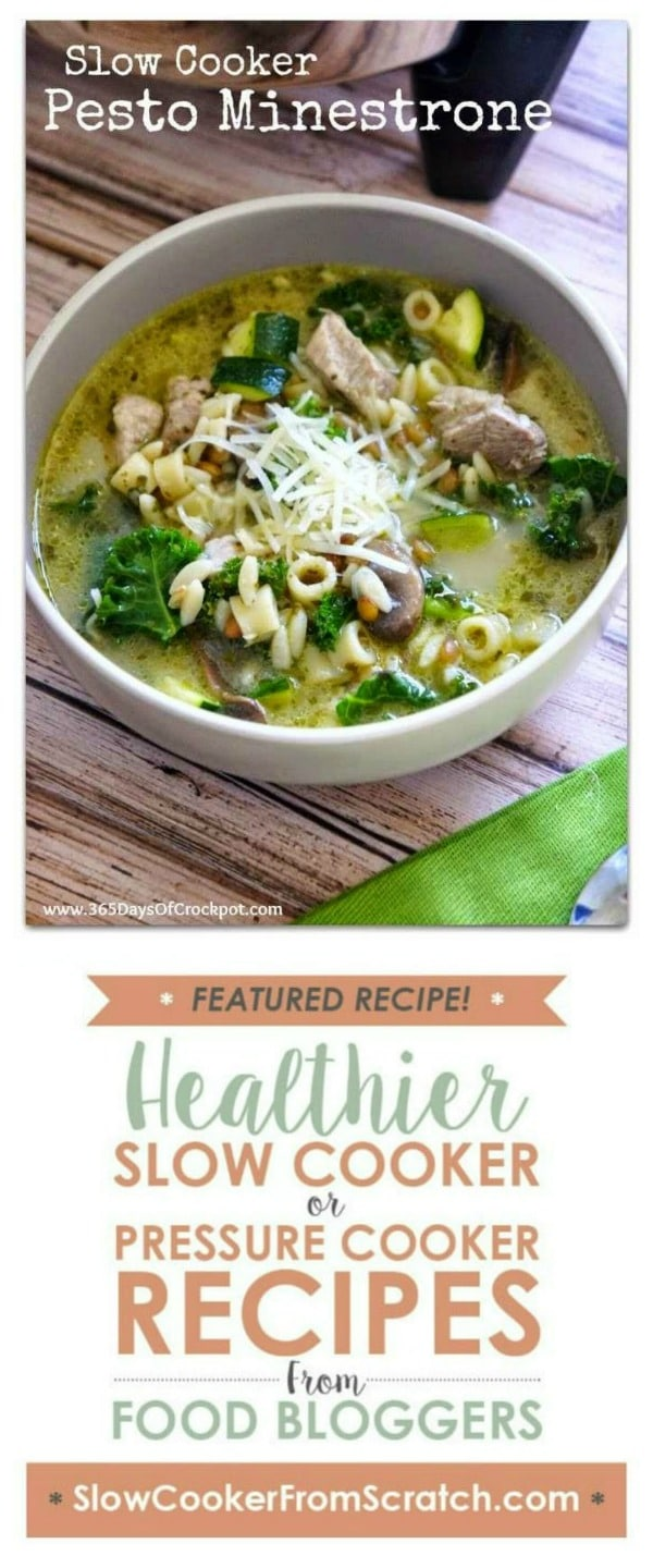 Slow Cooker Pesto Minestrone from 365 Days of Slow and Pressure Cooker featured on Slow Cooker or Pressure Cooker