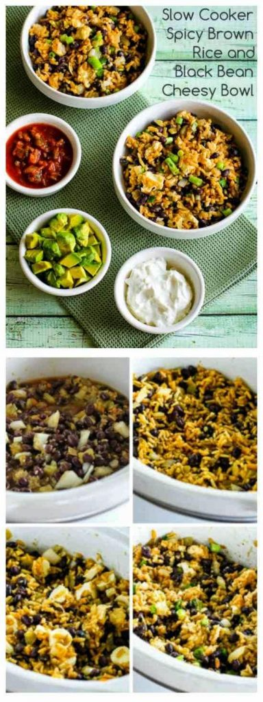 Slow Cooker Spicy Brown Rice and Black Bean Cheesy Bowl from Kalyn's Kitchen found on SlowCookerFromScratch.com