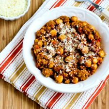 Slow Cooker Chickpea Stew with Italian Sausage, Tomatoes, and Pesto from Kalyn's Kitchen featured on Slow Cooker or Pressure Cooker at SlowCookerFromScratch.com