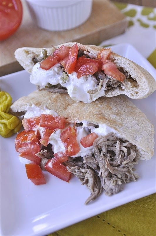 Slow Cooker Greek Pork from Your HomeBased Mom found on SlowCookerFromScratch.com