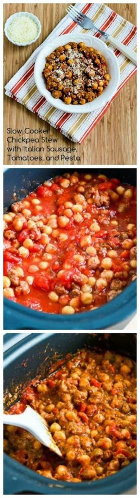 Slow Cooker Chickpea Stew with Italian Sausage, Tomatoes, and Pesto from Kalyn's Kitchen found on SlowCookerFromScratch.com