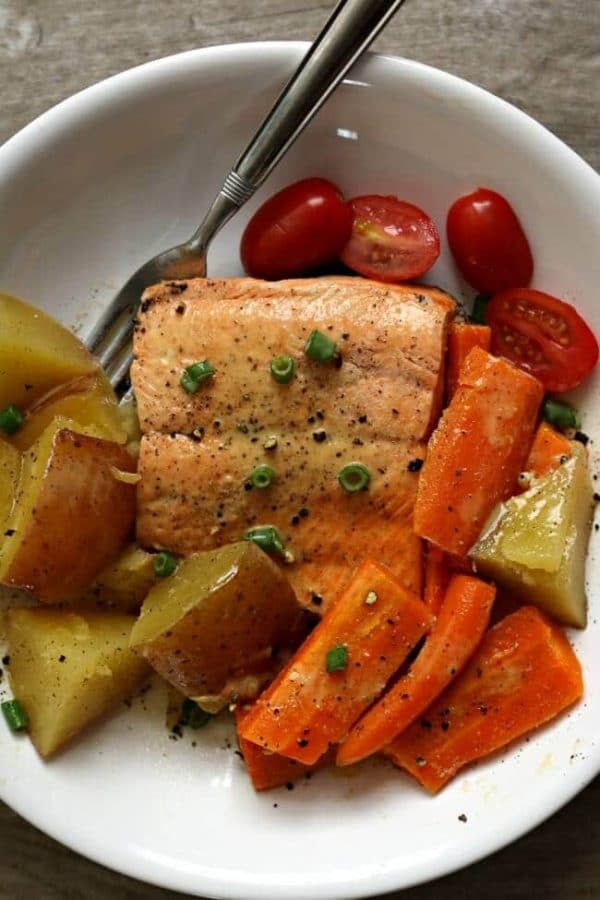Instant Pot Lemon Butter Garlic Salmon with Homestyle Vegetables from 365 Days of Slow + Pressure Cooking