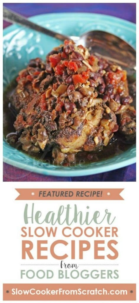 Slow Cooker Jamaican Spiced Chicken Stew from Jeanette's Healthy Living featured on SlowCookerFromScratch.com