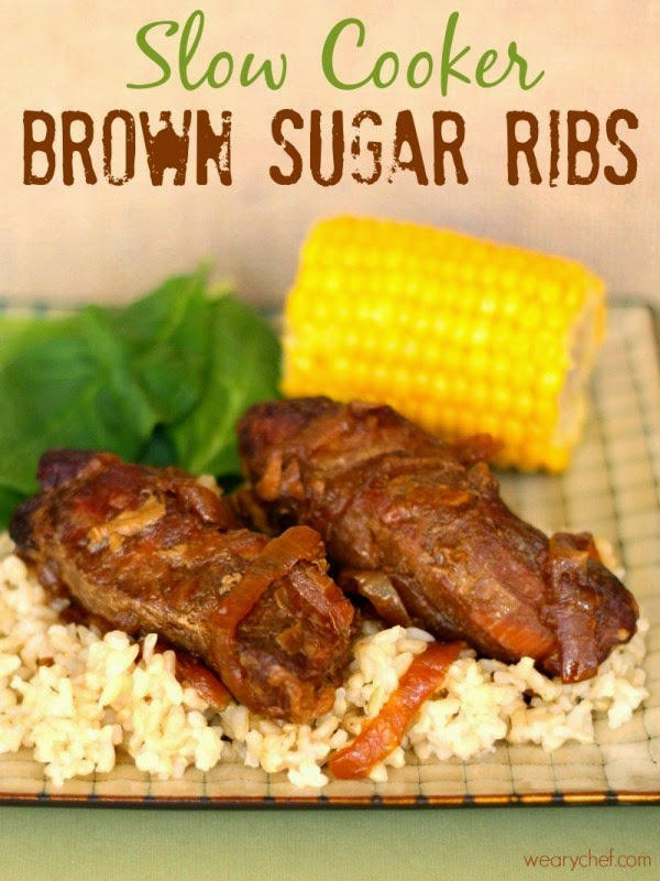 Five-Ingredient Slow Cooker Brown Sugar Ribs from The Weary Chef featured on SlowCookerFromScratch.com