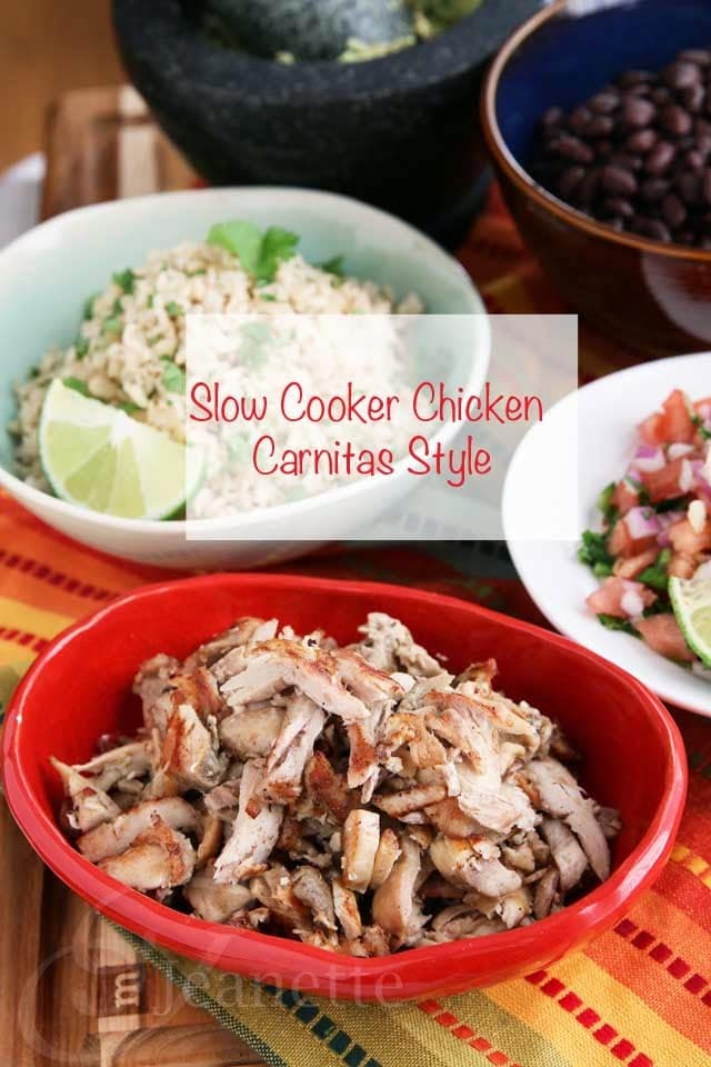 Slow Cooker Chicken Carnitas Style from Jeanette's Healthy Living featured on SlowCookerFromScratch.com