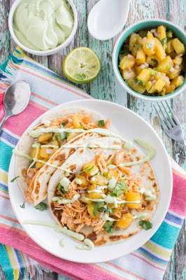 Crockpot Sriracha Chicken Tacos with Caramelized Pineapple Salsa from Slow Cooker Gourmet - Slow Cooker or Pressure Cooker