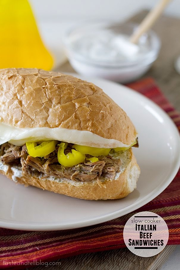 Slow Cooker Italian Beef Sandwiches with Ranch Horseradish Sauce from Taste and Tell featured on SlowCookerFromScratch.com