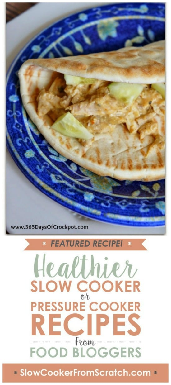 CrockPot Hummus Chicken with Soft Pita Bread from 365 Days of Slow Cooking featured on Slow Cooker or Pressure Cooker at SlowCookerFromScratch.com