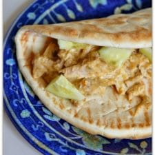 CrockPot Hummus Chicken with Soft Pita Bread from 365 Days of Slow Cooking