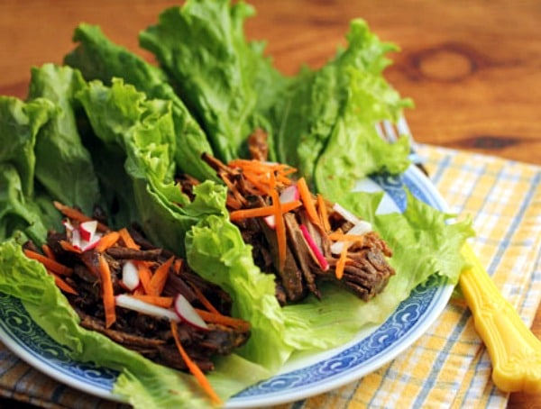 Slow Cooker Shredded Hoisin Beef Lettuce Wraps from The Perfect Pantry featured on Slow Cooker or Pressure Cooker at SlowCookerFromScratch.com