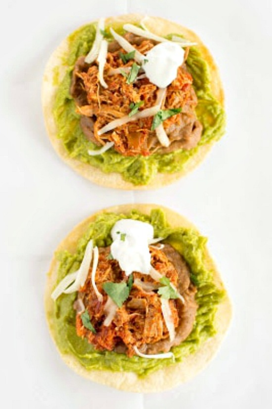 Crockpot Chicken Tinga Tostadas from Slow Cooker Gourmet featured on Slow Cooker or Pressure Cooker at SlowCookerFromScratch.com