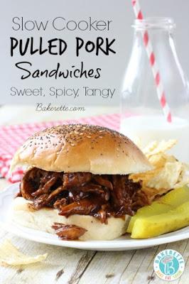 Slow Cooker Pulled Pork Sandwiches with Homemade Sriracha Barbecue Sauce found on SlowCookerFromScratch.com