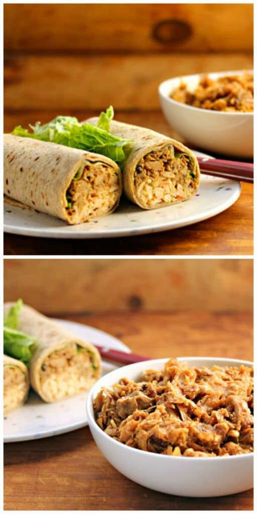 Slow Cooker Coffee-Chipotle Pulled Chicken Roll-Ups from The Perfect Pantry featured on SlowCookerFromScratch.com