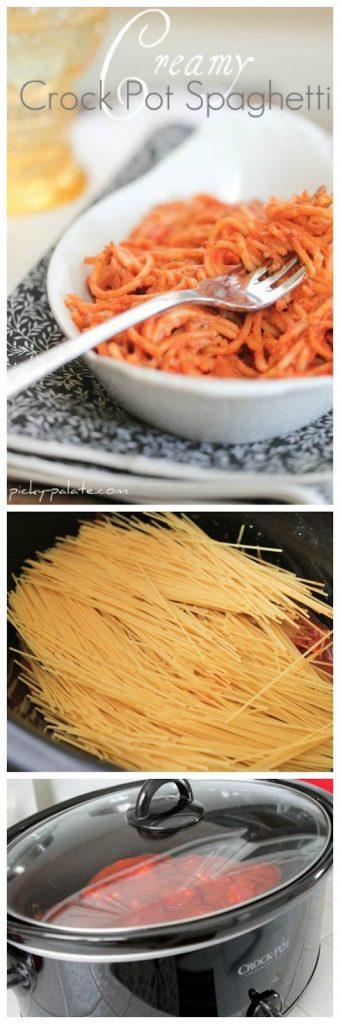 Creamy Crock Pot Spaghetti from Picky Palate found on SlowCookerFromScratch.com