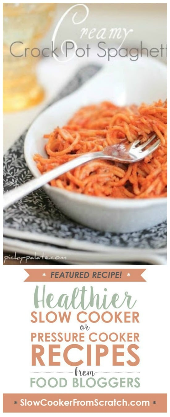 Creamy Crock Pot Spaghetti from Picky Palate found on Slow Cooker or Pressure Cooker at SlowCookerFromScratch.com