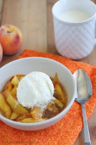 Slow Cooker Scalloped Peaches from Taste and Tell featured on Slow Cooker or Pressure Cooker at SlowCookerFromScratch.com
