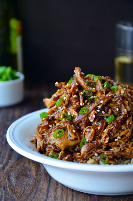 Slow Cooker Honey Garlic Chicken from Just a Taste featured on Slow Cooker or Pressure Cooker at SlowCookerFromScratch.com