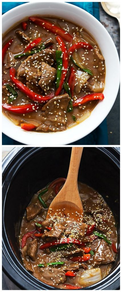 Slow Cooker Sesame Beef from Creme de la Crumb featured on SlowCookerFromScratch.com.
