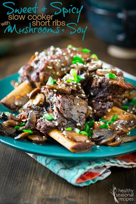 Sweet and Spicy Slow Cooker Short Ribs with Mushrooms and Soy from Healthy Seasonal Recipes featured on Slow Cooker or Pressure Cooker at SlowCookerFromScratch.com