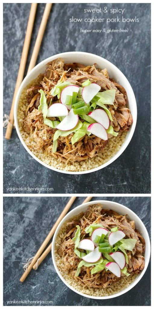 Sweet and Spicy Slow Cooker Pork Bowls from Yankee Kitchen Ninja found on SlowCookerFromScratch.com.