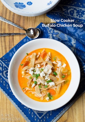 Slow Cooker Buffalo Chicken Soup from A Spicy Perspective featured on Slow Cooker or Pressure Cooker at SlowCookerFromScratch.com