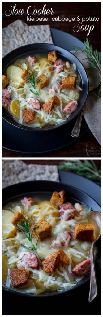Slow Cooker Kielbasa, Cabbage, and Potato Soup from Healthy Seasonal Recipes from Healthy Seasonal Recipes [found on SlowCookerFromScratch.com]