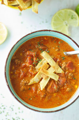 Crockpot Beef Enchilada Soup from Slow Cooker Gourmet featured on SlowCookerFromScratch.com