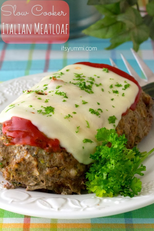 Low Carb Slow Cooker Italian Meatloaf from It's Yummi featured on SlowCookerFromScratch.com