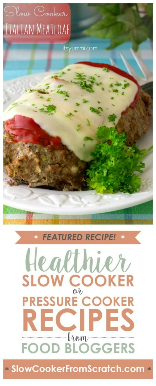 Low Carb Slow Cooker Italian Meatloaf from It's Yummi featured on Slow Cooker or Pressure Cooker at SlowCookerFromScratch.com