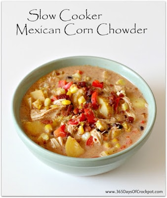 Slow Cooker Mexican Corn Chowder from 365 Days of Slow Cooking featured on SlowCookerFromScratch.com