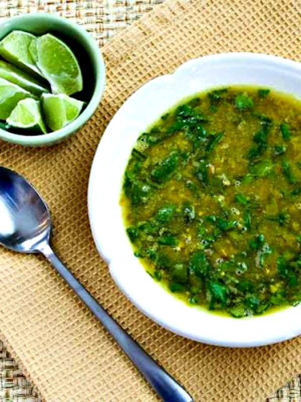Indian-Spiced Slow Cooker Red Lentil Soup with Spinach and Coconut Milk from Kalyn's Kitchen