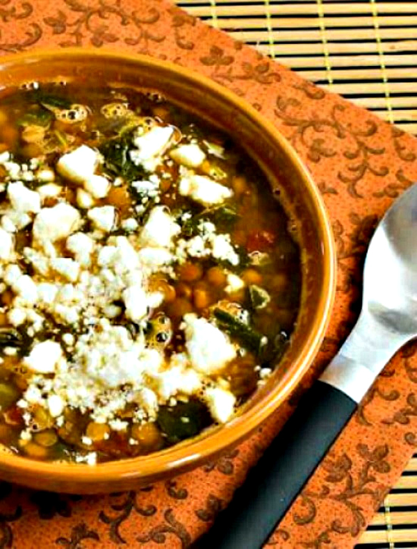 Slow Cooker Vegetarian Greek Lentil Soup with Tomatoes and Spinach from Kalyn's Kitchen