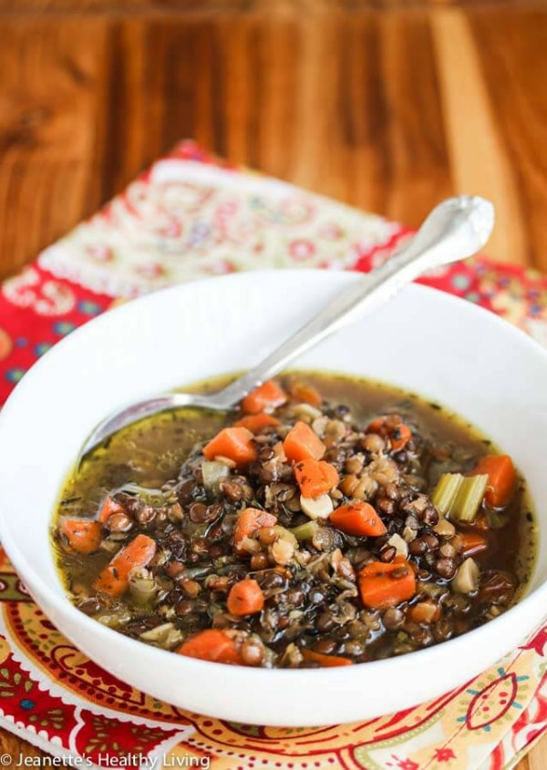 Slow Cooker Lentil Smoked Ham Soup from Jeanette's Healthy Living