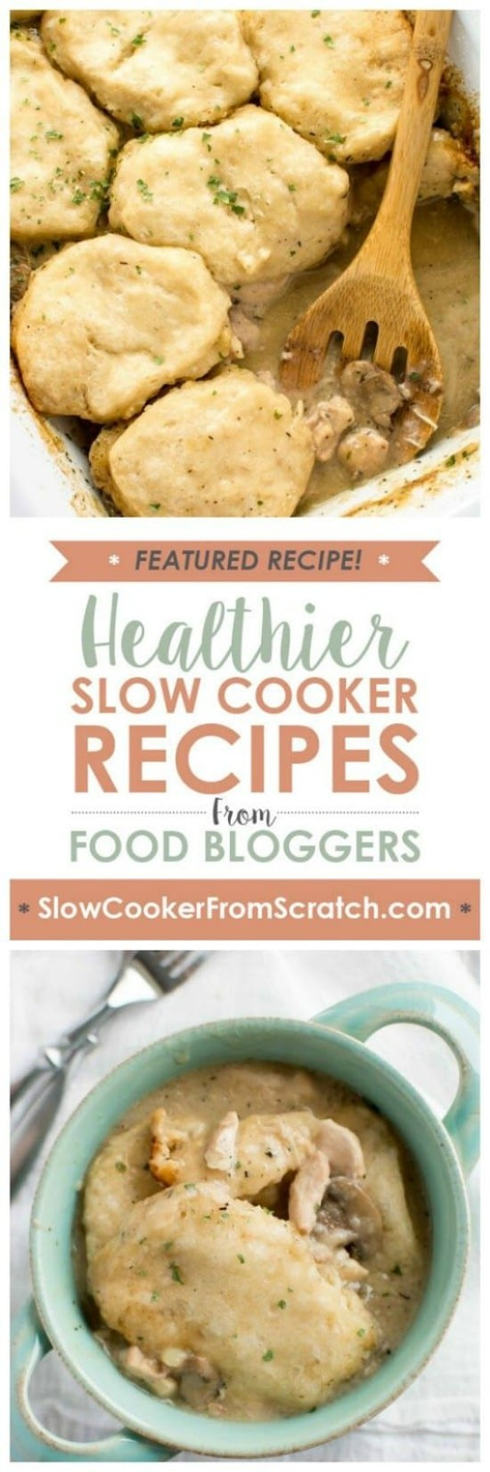 Slow Cooker Chicken Gravy and Biscuits from Slow Cooker Gourmet featured on Slow Cooker or Pressure Cooker at SlowCookerFromScratch