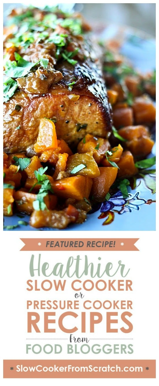 Slow Cooker Peach Salsa Pork Roast with Sweet Potatoes from Foodie with Family featured on Slow Cooker or Pressure Cooker at SlowCookerFromScratch.com