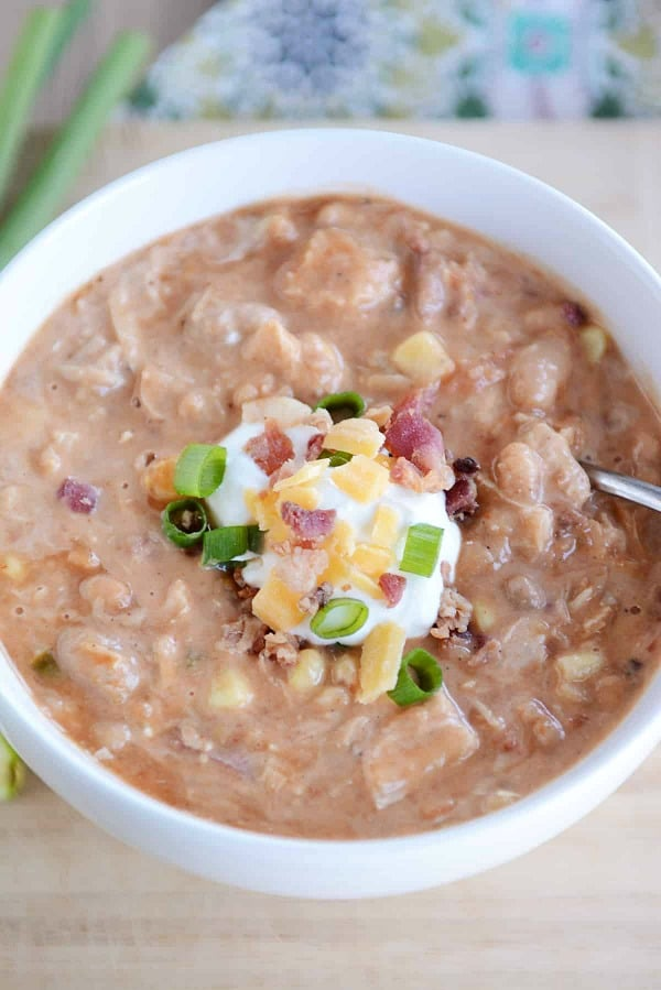 Slow Cooker Jalapeno Popper White Bean Chili from Mel's Kitchen Cafe