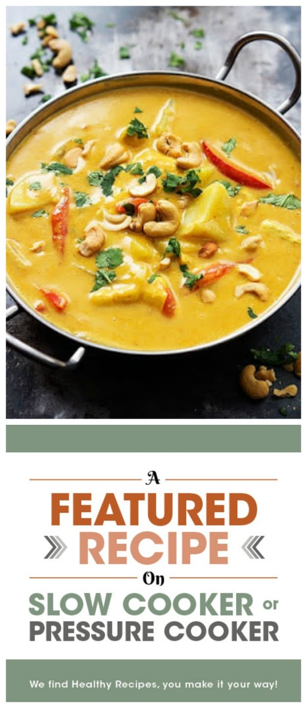 Slow Cooker Coconut Curry Cashew Chicken from Creme de la Crumb featured on Slow Cooker or Pressure Cooker
