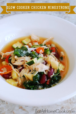 Slow Cooker Chicken Minestrone Soup from Eat At Home Cooks featured on SlowCookerFromScratch.com