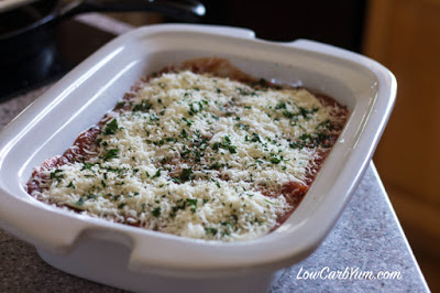CrockPot Ground Beef Eggplant Casserole from Low Carb Yum featured on SlowCookerFromScratch.com