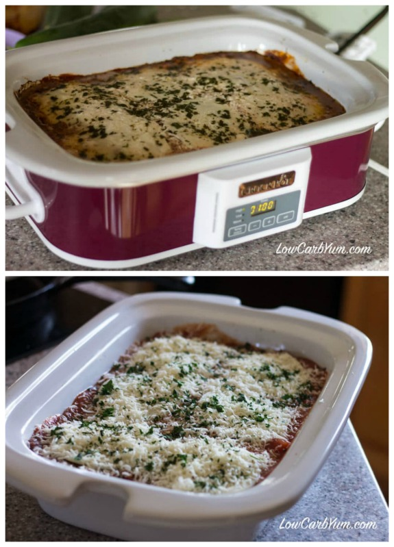 CrockPot Ground Beef Eggplant Casserole from Low Carb Yum featured on Slow Cooker or Pressure Cooker at SlowCookerFromScratch.com