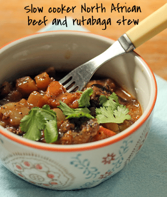 Slow Cooker North African Beef And Rutabaga Stew from The Perfect Pantry featured on SlowCookerFromScratch.com