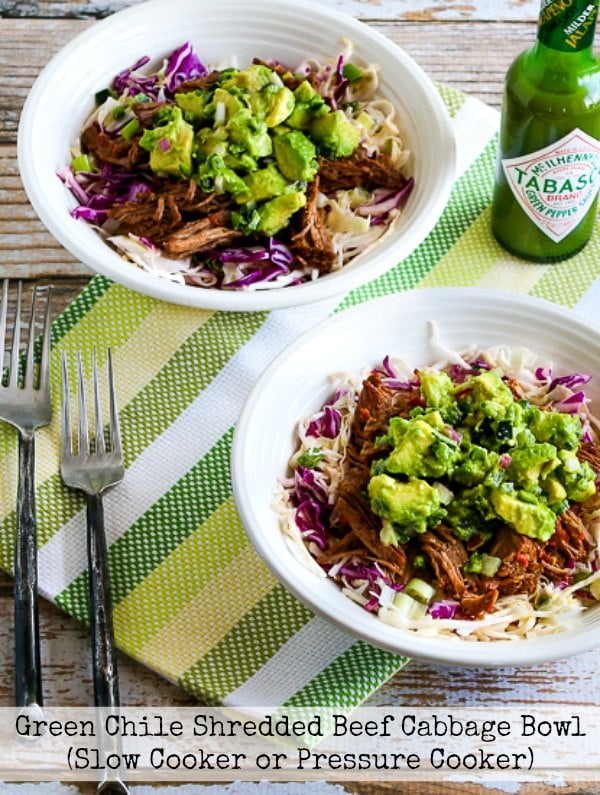 Low-Carb Green Chile Shredded Beef Cabbage Bowl