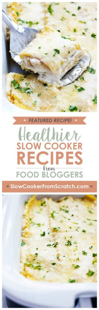 Slow Cooker Three Cheese Chicken Lasagna from Creme de la Crumb [featured for Casserole Crock Saturdays on Slow Cooker from Scratch]
