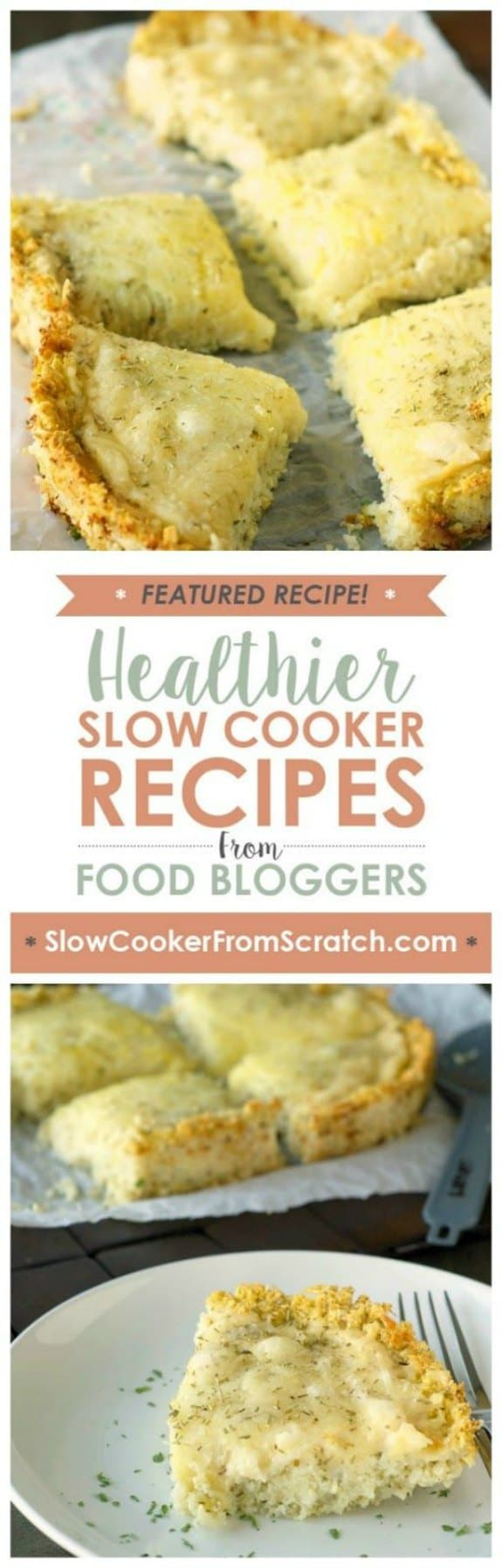 Slow Cooker Deep Dish Cheese Pizza with Cauliflower Crust from Slow Cooker Gourmet