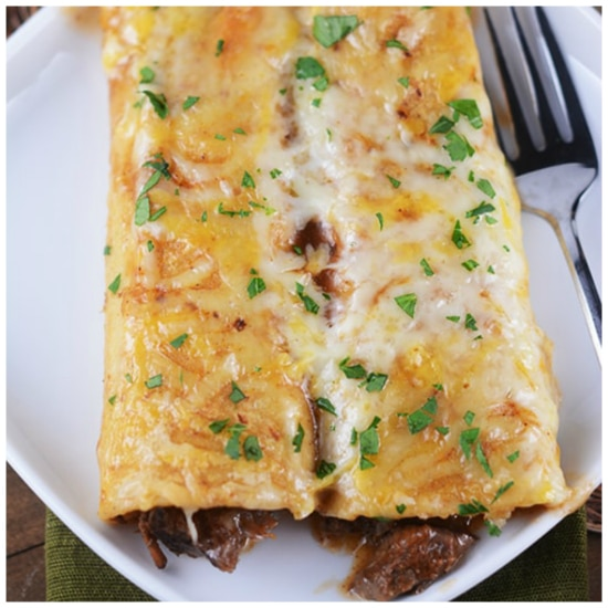 Three Family Friendly Recipes for Beef Enchiladas (Slow Cooker or Pressure Cooker) featured on Slow Cooker or Pressure Cooker at SlowCookerFromScratch.com