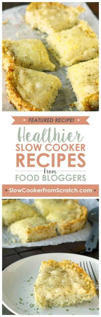 Slow Cooker Deep Dish Cheese Pizza with Cauliflower Crust from Slow Cooker Gourmet [featured for Casserole Crock Saturdays on SlowCookerFromScratch]